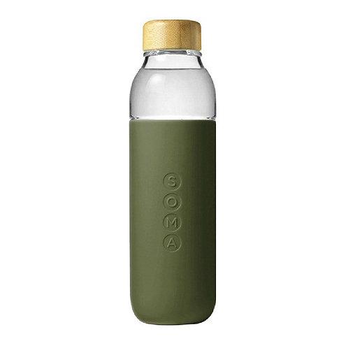 SOMA 竹蓋玻璃水樽 500ml - 橄欖綠