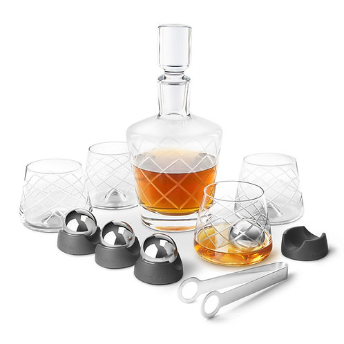 Final Touch On the Rock 威士忌水晶酒杯及醒酒器套裝(4隻杯連不鏽鋼冰球)