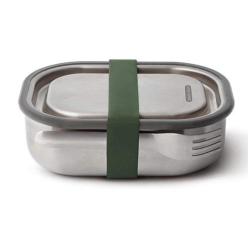 black+blum 不鏽鋼防漏食物盒連餐具組 600ml - 橄欖綠