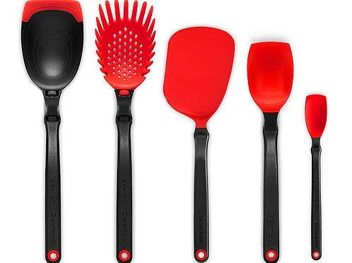 Dreamfarm Set of the Best 基本廚房工具套裝 - 包括湯勺、意粉勺、薄切鑊鏟、一茶匙刮匙、刮匙(紅色)