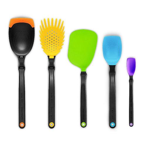 Dreamfarm Set of the Best 基本廚房工具套裝 - 包括湯勺、意粉勺、薄切鑊鏟、一茶匙刮匙、刮匙(多色)