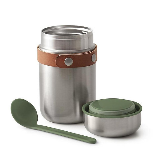 black+blum 不鏽鋼真空保溫保冷燜燒罐食物罐連湯匙 400ml - 橄欖綠