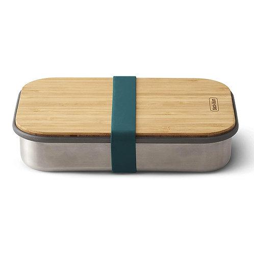 black+blum 不鏽鋼天然竹蓋食物盒 900ml - 海洋藍