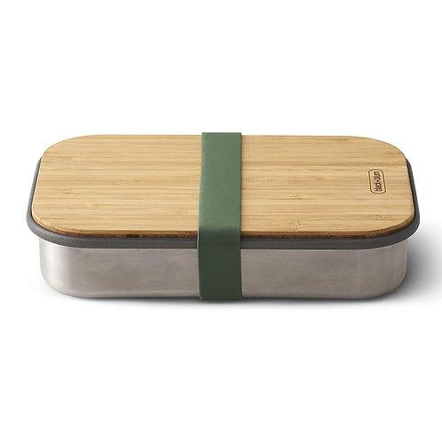 black+blum 不鏽鋼天然竹蓋食物盒 900ml - 橄欖綠