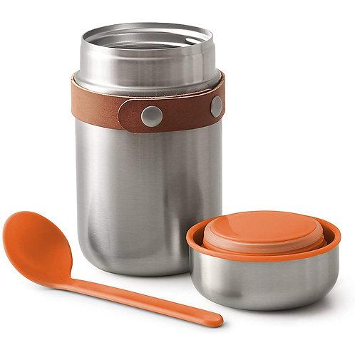 black+blum 不鏽鋼真空保溫保冷燜燒罐食物罐連湯匙 400ml - 熱情橘