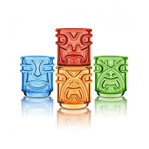 Final Touch Tiki 夏威夷圖騰有色玻璃酒杯 355ml(4隻裝)