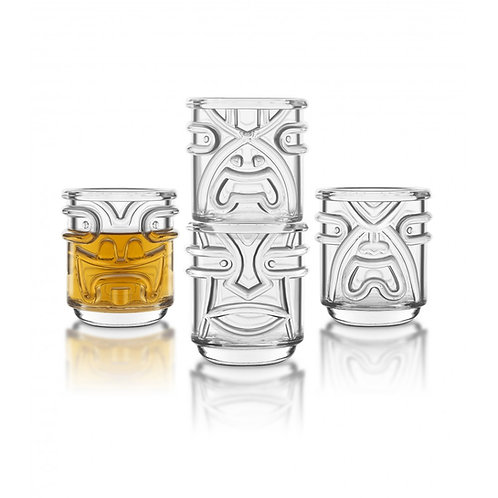Final Touch Tiki 夏威夷圖騰玻璃酒杯 355ml(4隻裝)