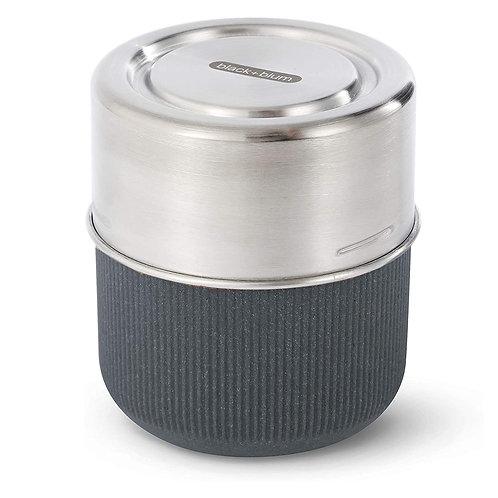black+blum 玻璃食物碗連不銹鋼蓋 450ml 岩灰色(微波爐適用)