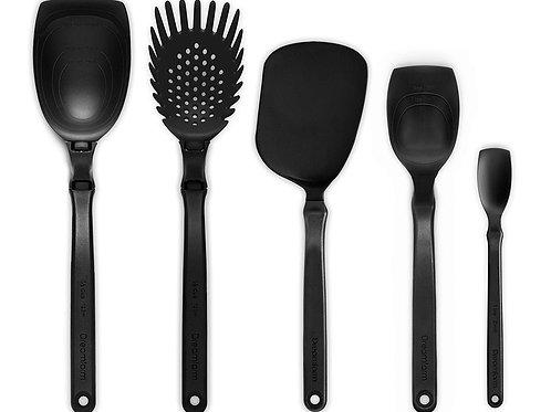 Dreamfarm Set of the Best 基本廚房工具套裝 - 包括湯勺、意粉勺、薄切鑊鏟、一茶匙刮匙、刮匙(黑色)