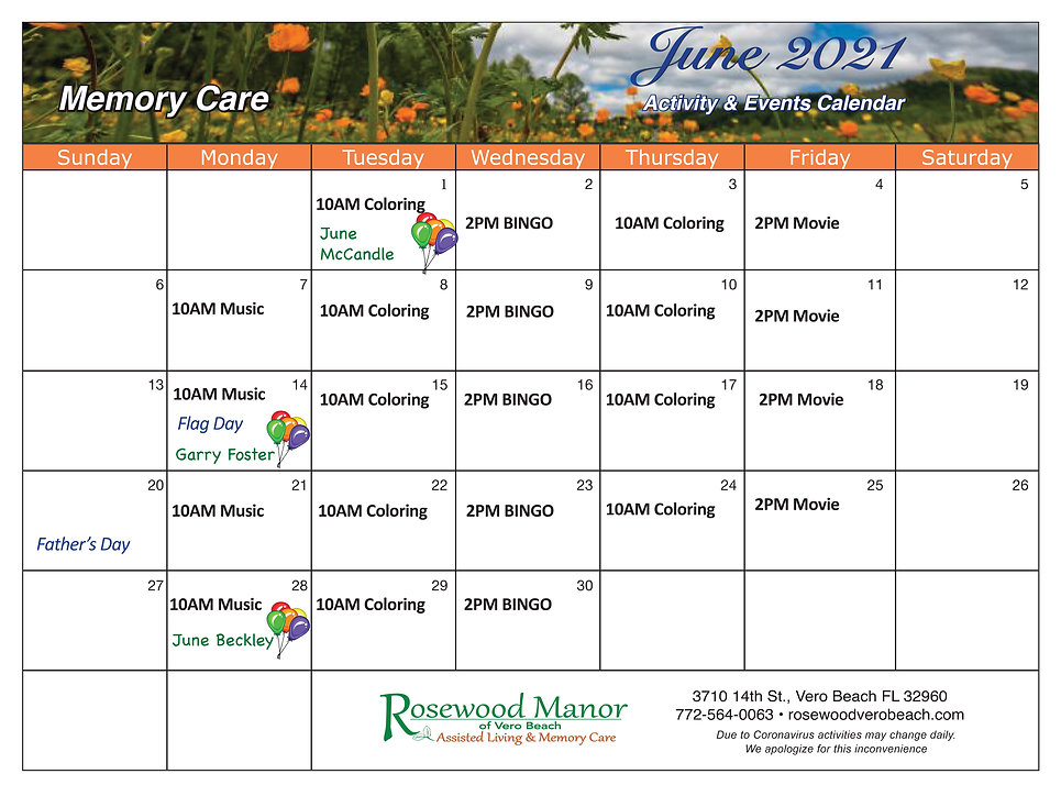 Rosewood June calendar of events for memory care