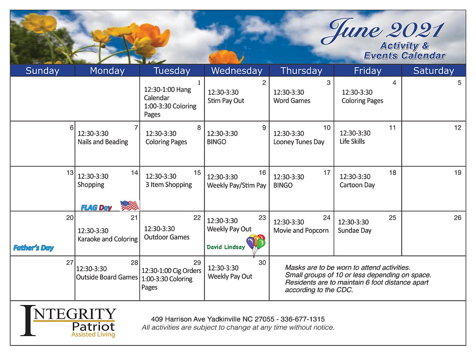 June daily event calendar for Patriot Assisted Living