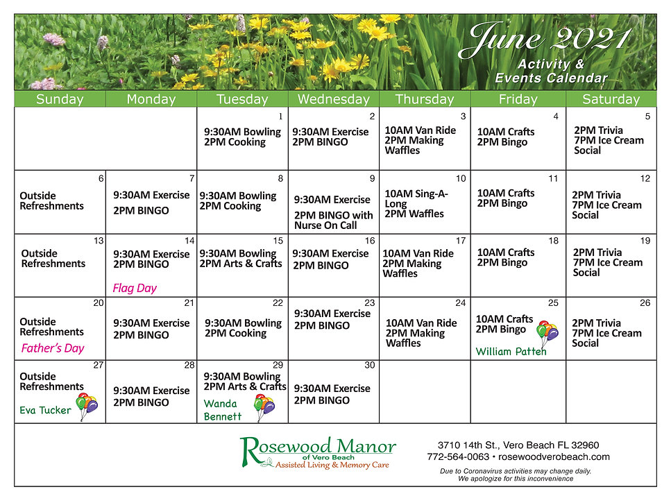June calendar of daily events at Rosewood