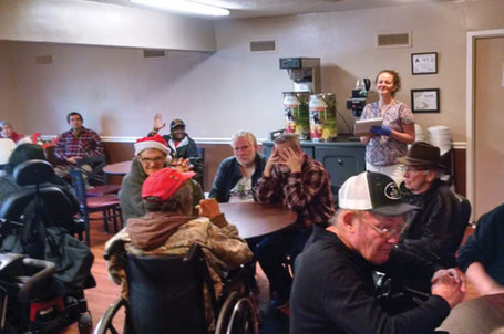 Residents gather in the large dining area