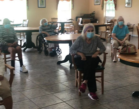 Resident leading exercise class