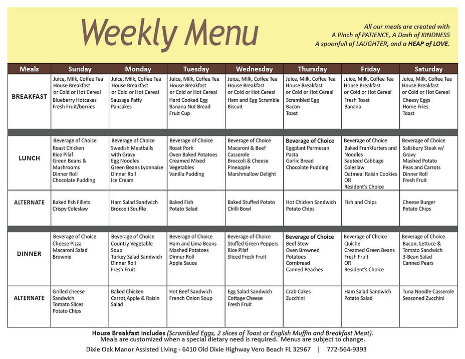 This is a sample of the weekly menu at Dixie Oak