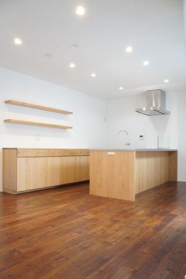 オーダーキッチン、楢、オーダ家具