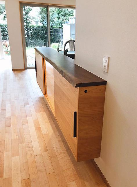 オーダー家具,東京,無垢家具,キッチン,キッチンカウンター,ウォールナット,山桜