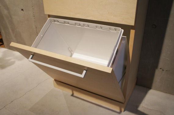 オーダー家具、ゴミ箱、キッチン用ゴミ箱、無垢、オーク