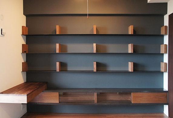 オーダー家具、ウォールナット、本棚、デスク