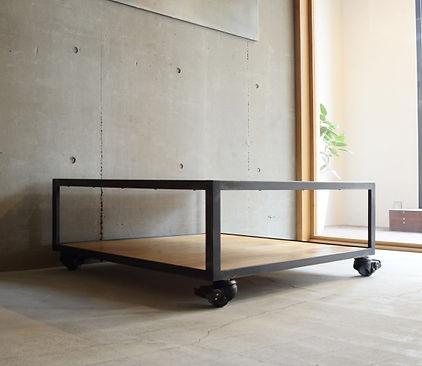 オーダー家具,ローテーブル,オーク,インダストリアル,キャスター,オーダー家具