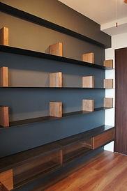 壁面本棚,オーダー家具,造作家具,アイアン,ウォールナット,無垢,鉄,本棚