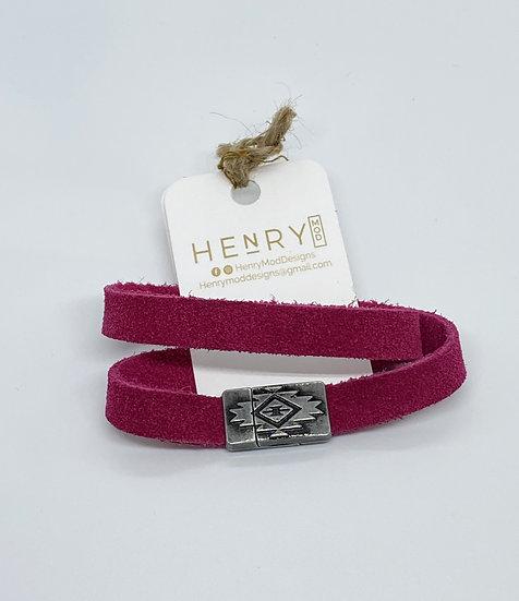 """Brian Wrap Bracelet - Dark Pink Suede (6.5"""")"""
