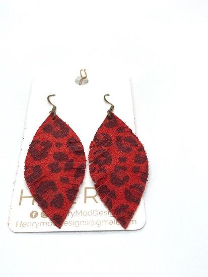 Piper - red leopard suede