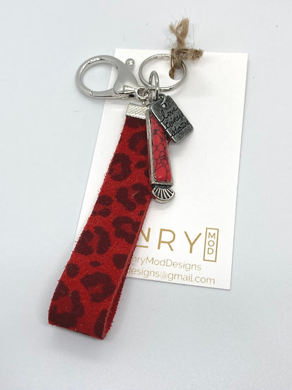 Martha Keychain - red leopard suede (loop)