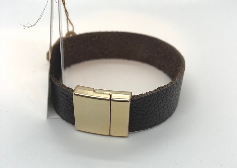 "Brian Wrap Bracelet - brown leather (7.75"")"