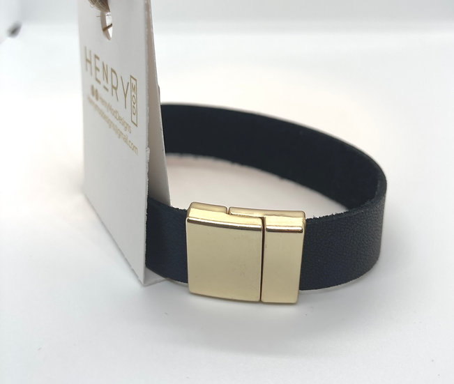 "Brian Wrap Bracelet - black leather (7.5"")"