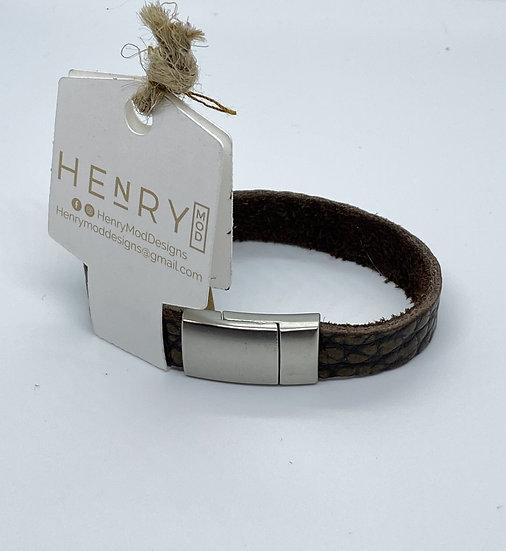 Brian Wrap Bracelet - Dark Brown Textured