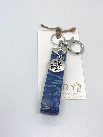 Martha Keychain - blue snakeskin (flat)