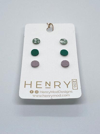 Georgia Stud Set - mint/silver etched, emerald suede, violet
