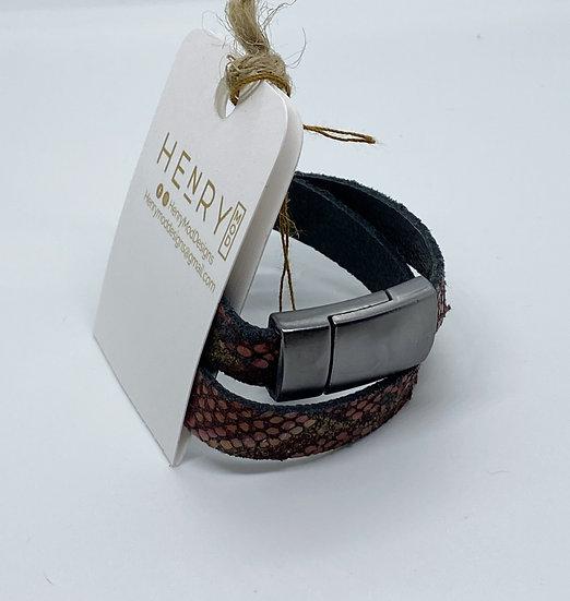 Brian Wrap Bracelet - Red & Gold Snakeskin