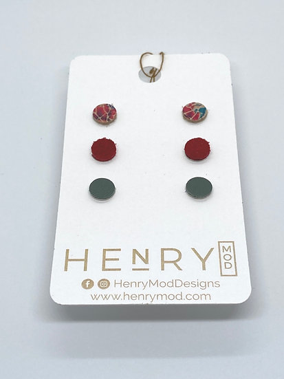 Georgia Stud Set - red floral, red suede, green