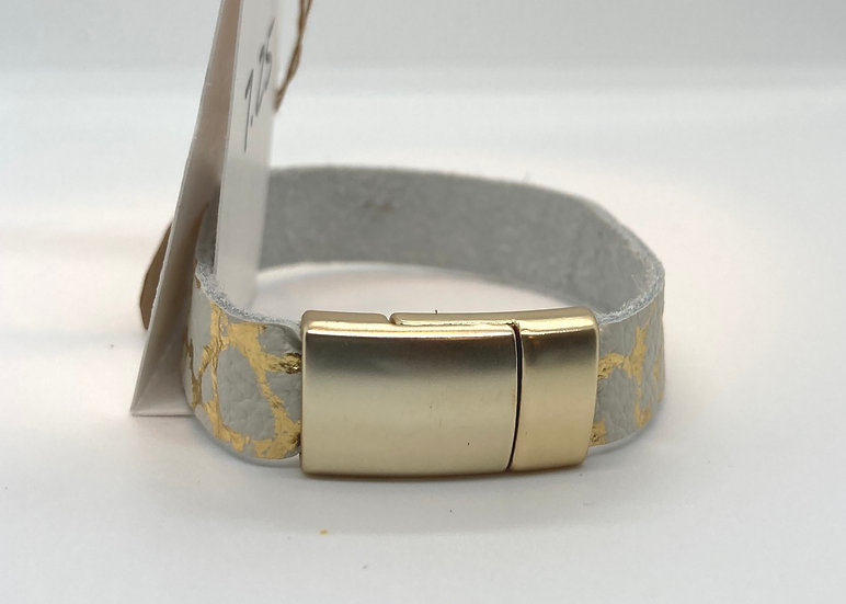 "Brian Wrap Bracelet - gold & cream (7.25"")"