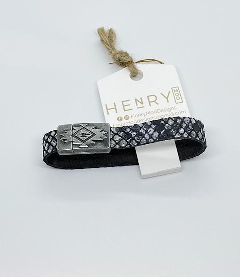 Brian Wrap Bracelet - Black & White Snakeskin