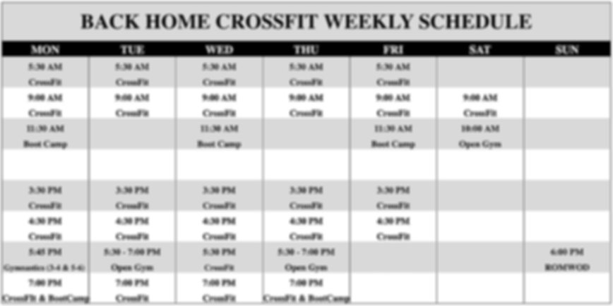 Back Home CrossFit 2019 Summer Schedule.