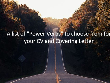 """A list of """"Power Verbs"""" to choose from for your CV and Covering Letter"""