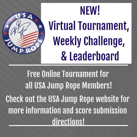 NEW! USA Jump Rope Virtual Tournament, Weekly Challenge and Leaderboard