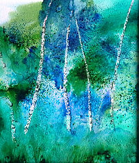 17 Silver Birches, Headley - mixed media