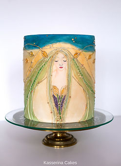 deco, art nouveaux cake, painted cake, art as cake,