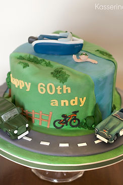 River and road birthday cake for 60th.  Austin Healy 3000, Land Rover and boat