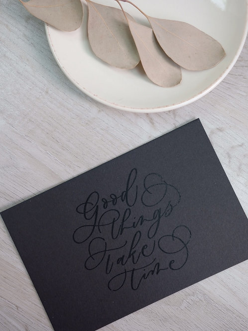 """cottontail """"good things take time"""" calligraphy message card"""