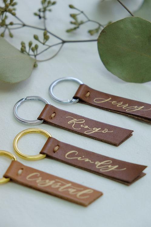 handmade leather keychain