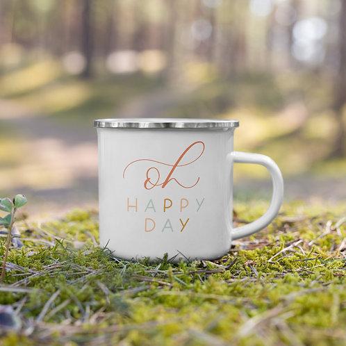 """oh happy day"" enamel mug - autumn"