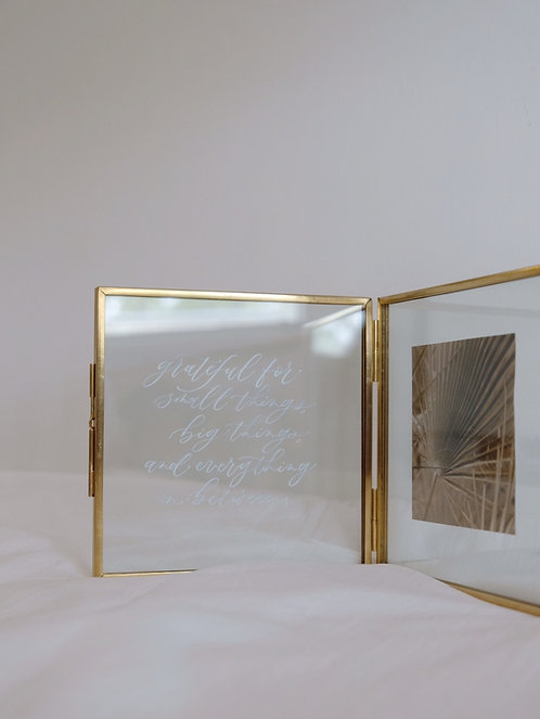 brass photo frame calligraphy display