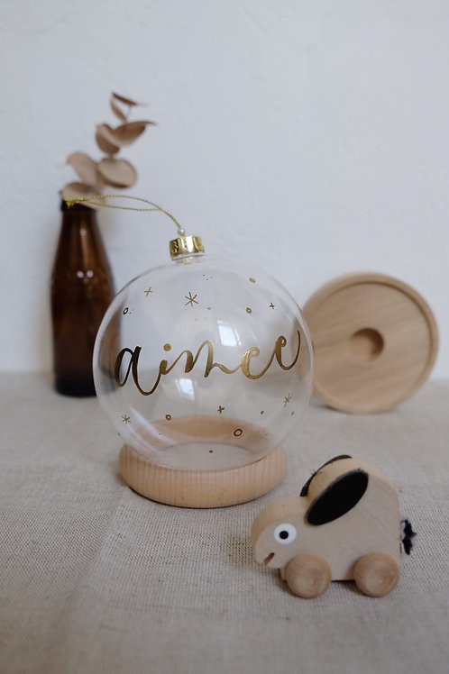 personalised calligraphy christmas glass bauble