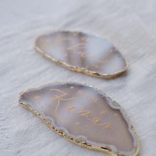 personalised bride & groom agate slices
