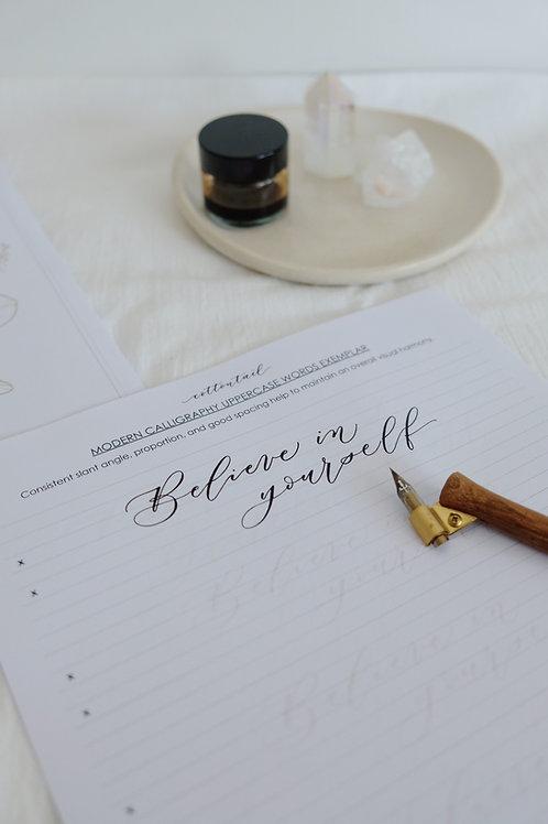 modern calligraphy workbook - UPPERCASE